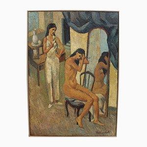 Vincent Tailhardat, Frau vor dem Spiegel, 1990er, Öl auf Leinwand