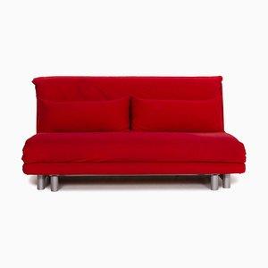 Sofá cama Multy de tres asientos de tela roja de Ligne Roset