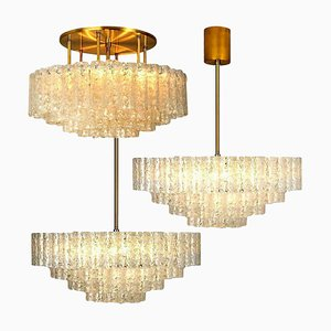 Large Glass & Brass Light Fixtures from Doria, Germany, 1969, Set of 3