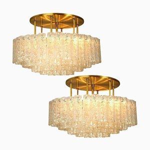 Large Blown Glass & Brass Flush Mount Light Fixtures from Doria, Set of 2