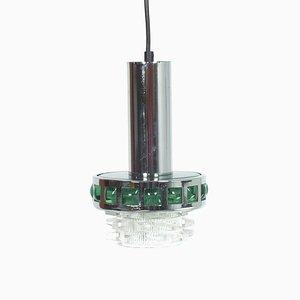 Green Chromium Pendant Lamp, 1970s