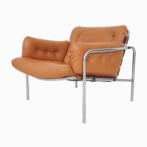 Cognac Leather SZ08 Ssaka Lounge Chair by Martin Visser for 't Spectrum, the Netherlands, 1969