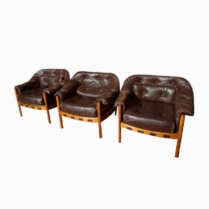 Danish Teak & Brown Leather Chair by Arne Norell