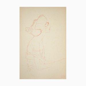 (nachher) Gustav Klimt - Study of A Bust (Roter Bleistift) - Collotypie Druck - 1919