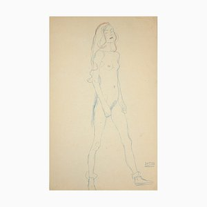 (after) Gustav Klimt - Nude of A Young Girl - Collotype Print - 1919