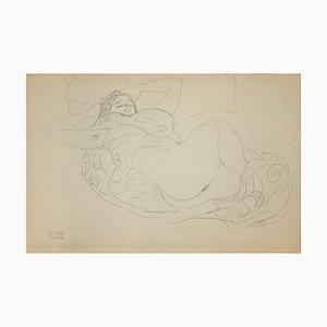 (after) Gustav Klimt - Lying Female Nude - Collotype Print - 1919