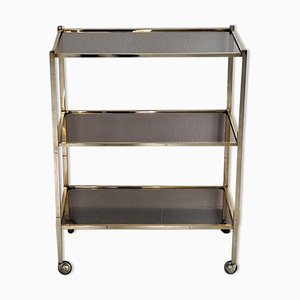 Vintage Italian Brass and Smoked Glass Trolley