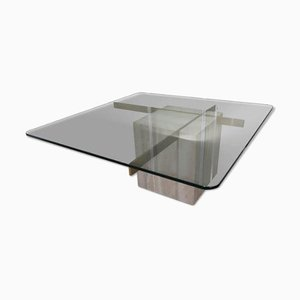 Coffee Table in Travertine, Glass & Brass, 1970s