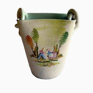 Italienischer Art Deco Keramik Topf von Lina Poggi für CEAS Albisola, 1920er