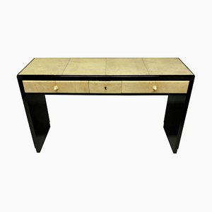 French Ebonised Parchment Console Table, 1930s