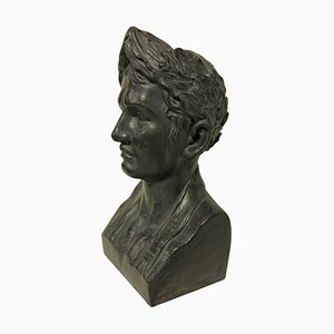 French Painted Plaster Bust of Napoleon, 1940s