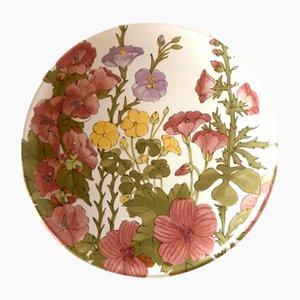 Italian Ceramic Floral Plate from Ernestine Salerno, 1950s