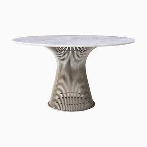 Tavolo da pranzo Mid-Century in acciaio e marmo di Warren Platner per Knoll Inc., anni '70