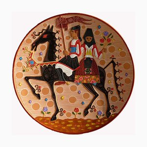 Sardinian Decorative Ceramic Plate by Paolo Loddo, 1960s