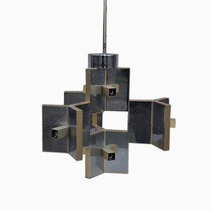 Chrome-plated Aluminum & Brass Ceiling Lamp, 1970s