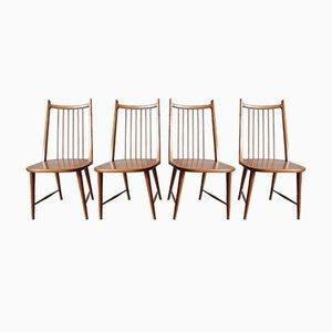 Deutsche Mid-Century Esszimmerstühle aus Kirschholz, 4er Set