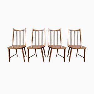 Mid-Century German Cherry Wood Dining Chairs, Set of 4