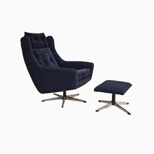 Vintage Danish Swivel Chairs & Stool Set of 2