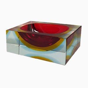 Rectangular Red and Blue Ashtray / Vide Poche by Flavio Poli for Seguso, 1960s