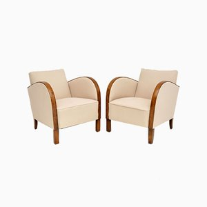Swedish Art Deco Satin Birch Armchairs, 1930s, Set of 2