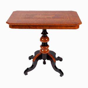 Italian Marquetry & Walnut Side Table, 1880s