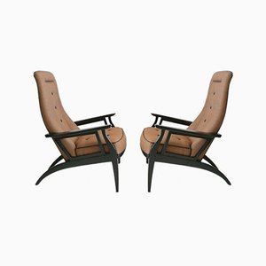 Italian Ebonized Wood Armchairs, 1950s, Set of 2