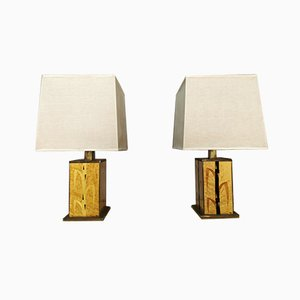 Vintage Briar & Brass Table Lamps, Set of 2