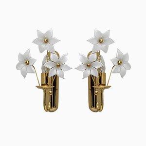 Italian Brass & Murano Glass Flower Sconces, 1970s, Set of 2