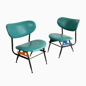 Italian Green Leather & Steel Club Chairs, 1970s, Set of 2