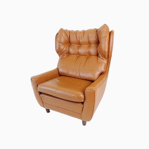 Cognac-Colored Leather Lounge Chair from Carl Straub, 1960s