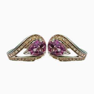 Amethyst and Diamond Earrings, Set of 2