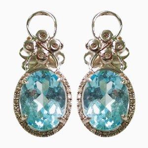 Boucles d'Oreilles Diamant et Topaze Or, Set de 2