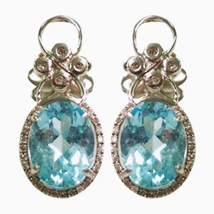 Orecchini con topazio dorato e diamanti, set di 2