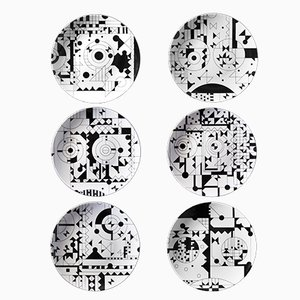 Assiettes Sérigraphiées MOODS en Porcelaine par Kosta Neofitidis pour KOTA, Set de 6