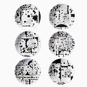 Platos MOODS de porcelana con serigrafía de Kosta Neofitidis para KOTA Collections. Juego de 6