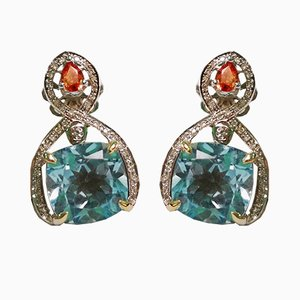 Gold Topaz Blue Sapphires and Diamond Earrings, Set of 2