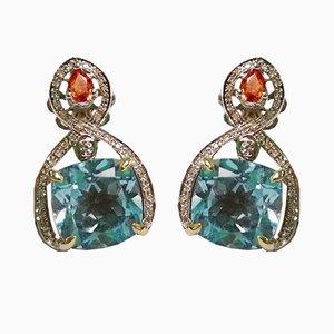 Pendientes topacios en oro de zafiros azules y diamantes. Juego de 2