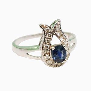 18 Karat Saphir und Diamant Ring in Gold