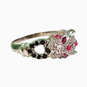 Silberner Panther Ring
