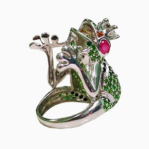 Silver Frog Ring with Natural Stones