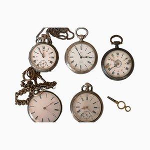 Relojes de bolsillo plateados. Juego de 5