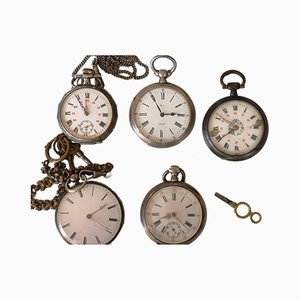 Silver Pocket Watches, Set of 5