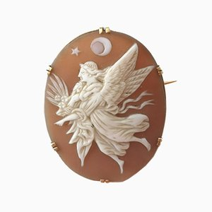 Broche Coquille Antique Cameo Doré 18 Carats
