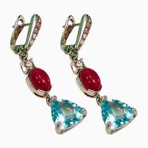 Topaz Blue, Ruby and Diamond Earrings, Set of 2