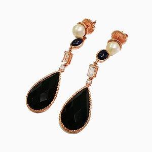 Boucles d'Oreilles en Perle, Topaze, Onyx et Diamant, Set de 2