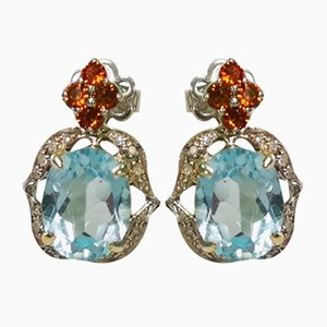 Gold, Blue Topaz, Citrine and Diamond Earrings, Set of 2