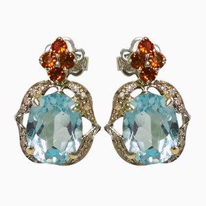 Orecchini in oro, blu topazio, citrino e diamanti, set di 2