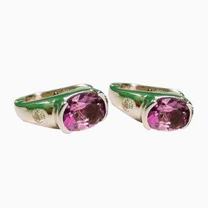 Boucles d'Oreilles Améthyste et Diamant, Set de 2