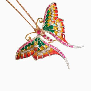 Butterfly Ruby, Silver Enamel and Diamond Brooch / Pendant with Silver Chain