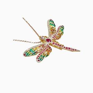 Libelle Silber, Diamant und Rubin Brosche / Hängelampe mit Silberkette